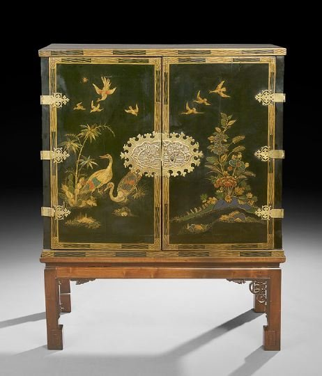 6: Japanned Black Lacquer Cabinet