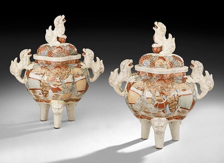 421: Pair of Japanese Satsuma Censer-Form Vases