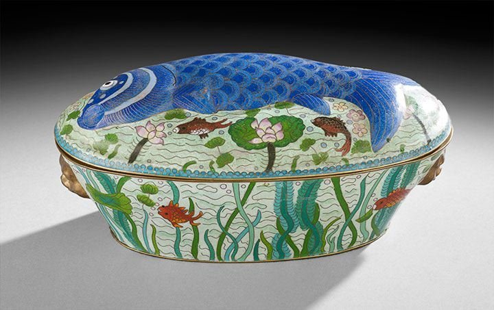 426: Chinese Cloisonne Covered Fish Tureen