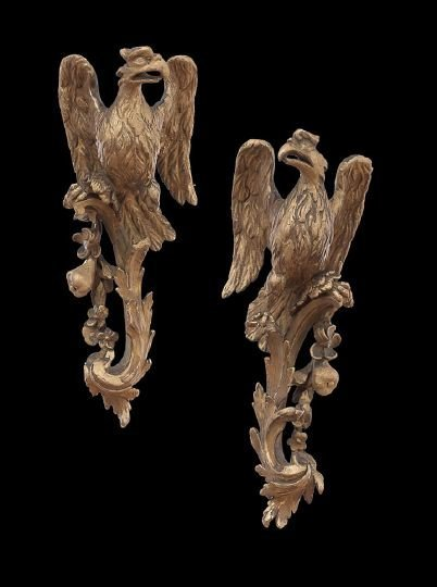 433: Pair of Giltwood Carved Phoenix Birds