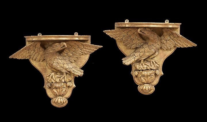 434: Pair of English Giltwood Eagle Wall Brackets