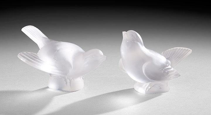 438: Two Lalique Birds and a Sabino Three-Bird Group