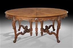 1161: Louis XV-Style Walnut Dining Table and 12 Chairs