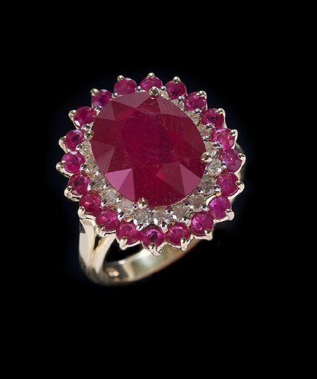 1164: 14 Kt. Yellow/White Gold, Ruby and Diamond Ring