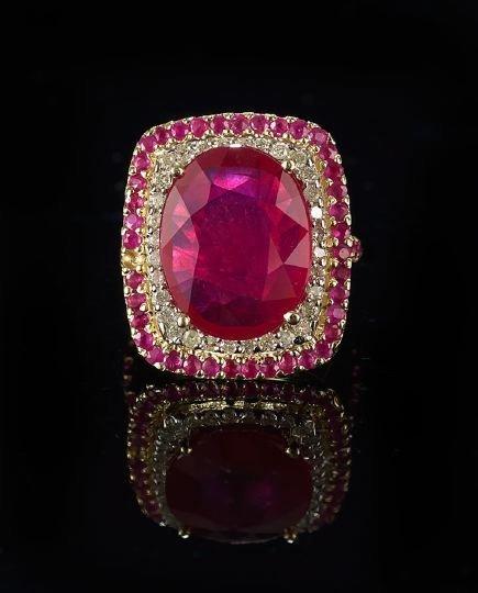 1166: 14 Kt. Yellow/White Gold, Ruby and Diamond Ring