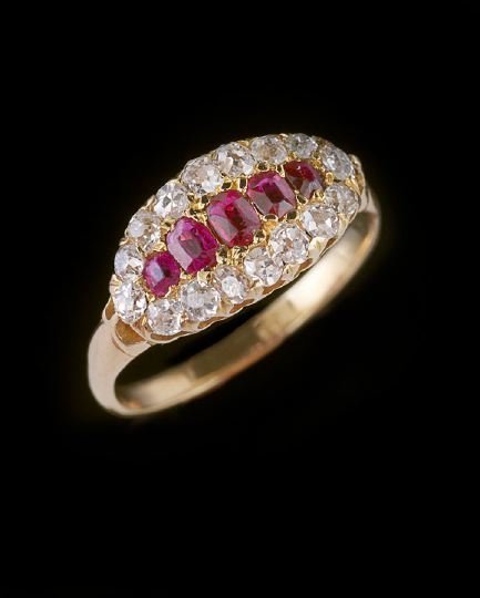 1168: Lady's 14 Kt. Yellow Gold, Ruby and Diamond Ring