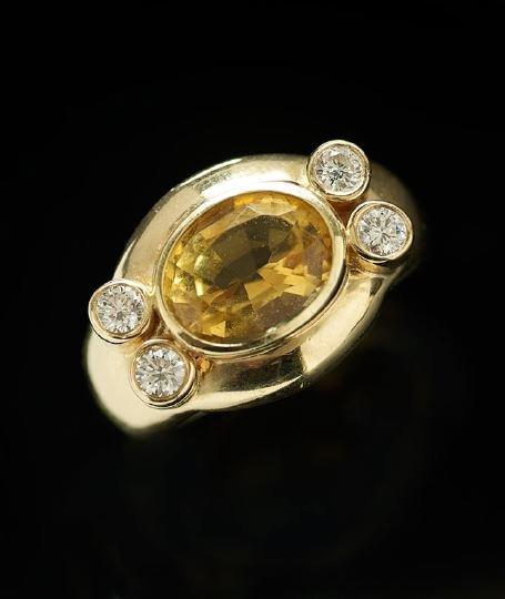 1170: Men's 14 Kt. Gold, Diamond and Citrine Ring