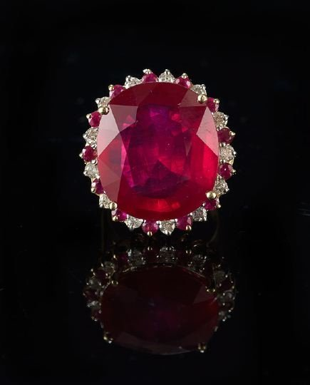1173: 14 Kt. White/Yellow Gold, Ruby and Diamond Ring
