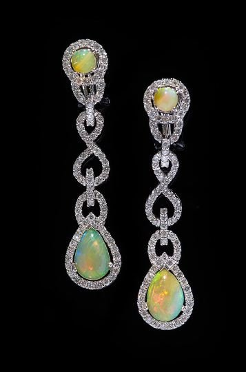 1176: Pair of 18 Kt. Gold, Opal and Diamond Earrings