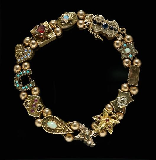 1182: Lady's 14 Kt. Yellow/Rose Gold Slide Bracelet