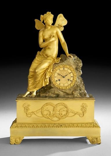 1315: French Empire Bronze Figural Mantle Clock