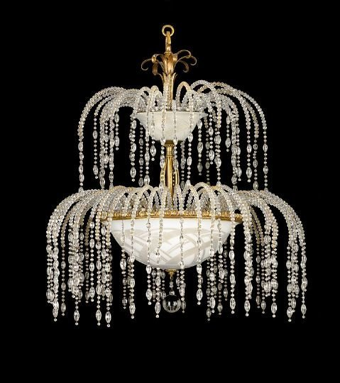 1695: Rare Pair of Art Deco Fountain-Form Chandeliers