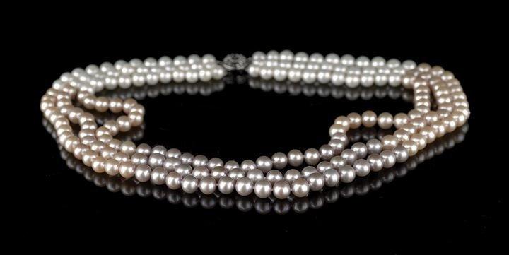 3: Triple Strand of Multi-Colored Cultured Pearls