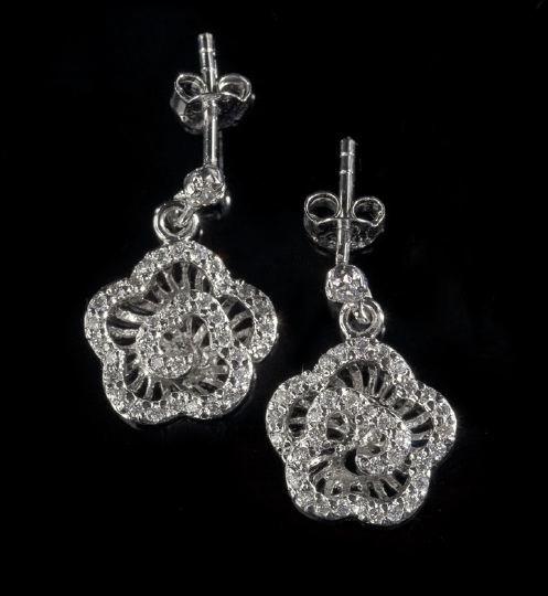 18: Pair of Sterling Silver Rhinestone Earrings