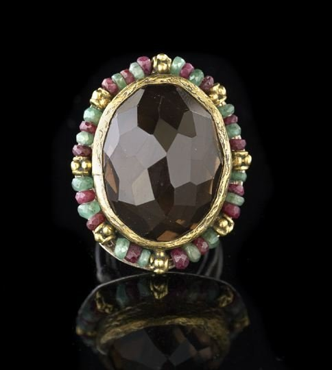 20: Moghul-Style Silver and Gemstone Ring