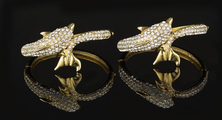 23: Pair of Fashion Rhinestone Dolphin Bracelets