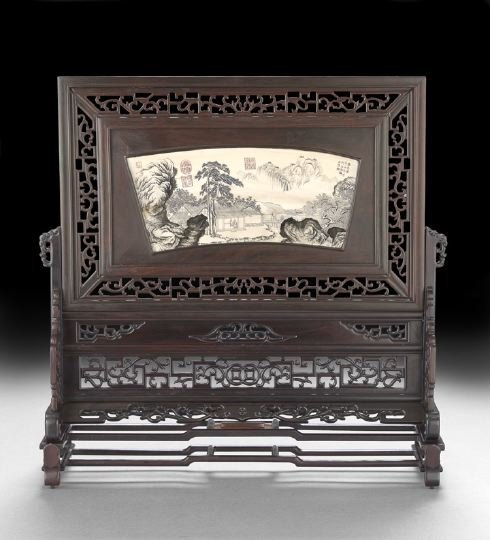 171: Good Chinese Zitan-and-Ivory Table Screen