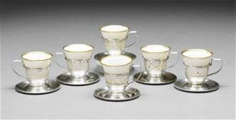 547 SixPiece Sterling and Porcelain Demitasse Set