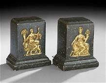 603 Pair of NeoclassicalStyle Faux Stone and Gilt Boo
