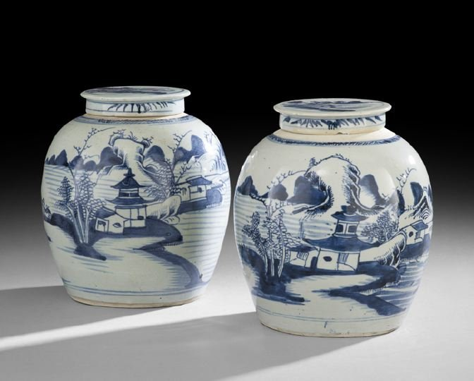 Pair of Chinese Blue-and-White Ginger Jars