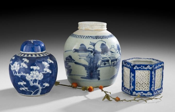 Group of Three Blue-and-White Chinese Vessels