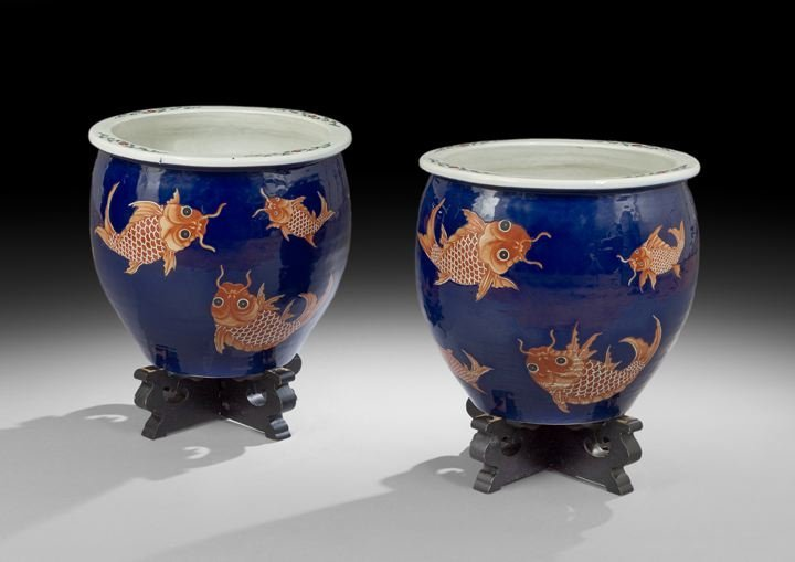 Pair of Chinese Polychrome Fish Bowls/Tree Tubs