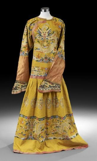 Chinese Imperial Yellow Silk Dragon Robe