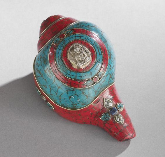 Tibetan Stone and Silver Encrusted Conch Shell