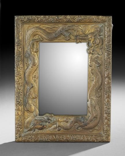 Japanese Molded and Gilt-Brass Mirror