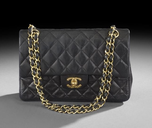 "Chanel Quilted Black Lambskin ""2.55"" Handbag"
