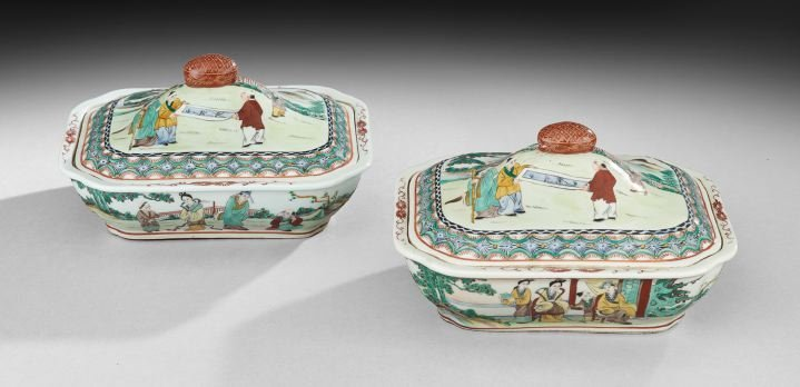 Pair of Chinese Covered Vegetable Dishes