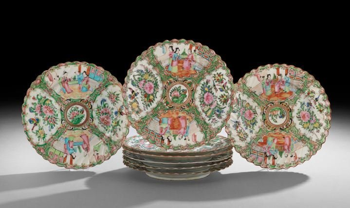 Eight Chinese Rose Medallion Porcelain Plates
