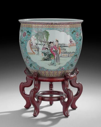 Chinese Porcelain Jardiniere and Stand