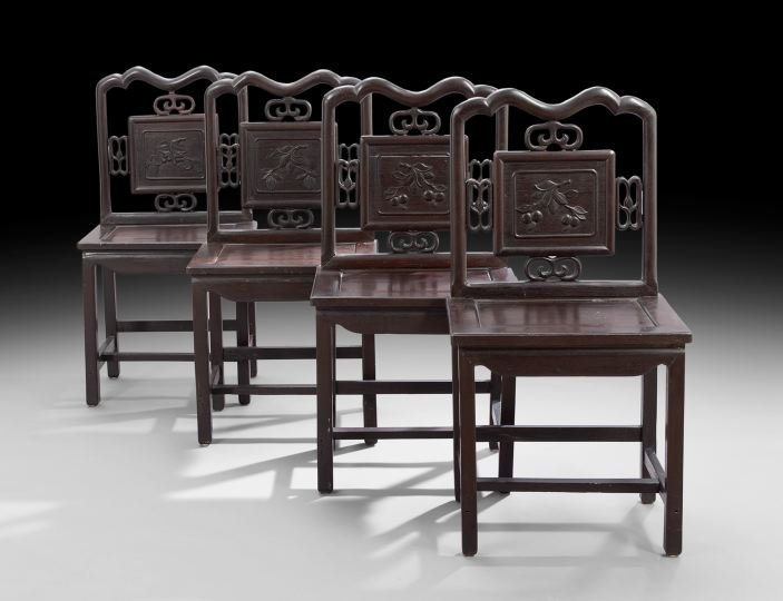 Suite of Four Chinese Stained Hardwood Sidechairs