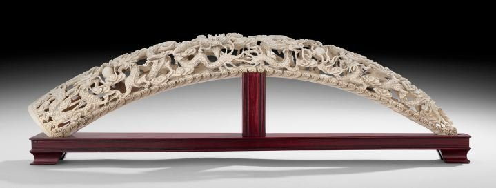 Chinese Carved Ivory Tusk on Stand