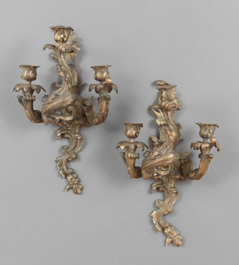 Unusual Pair of French Bronze Three-Light Sconces