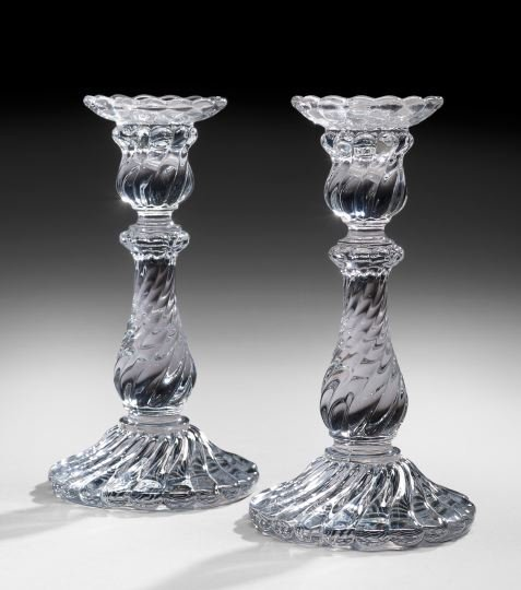 Pair of French Baccarat Lead Crystal Candlesticks