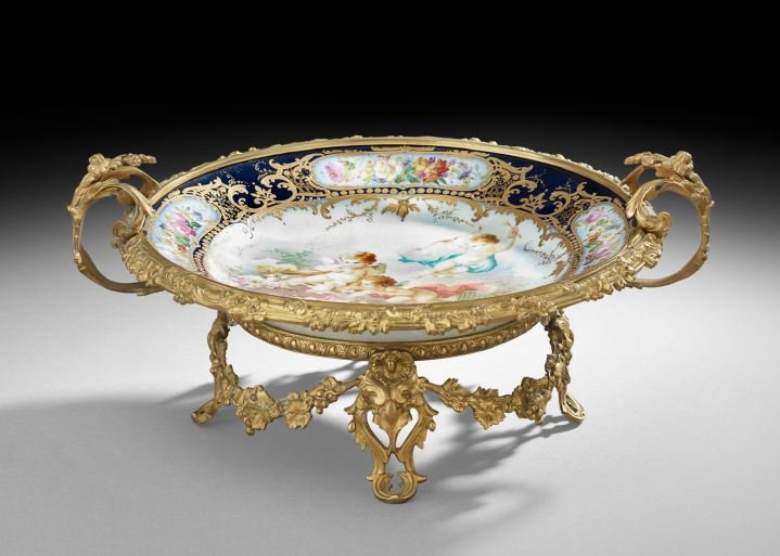 French Bronze and Porcelain Centerpiece
