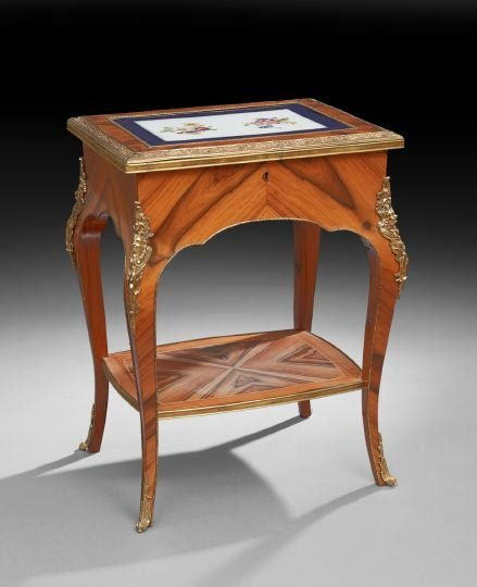 Louis XV-Style Zebra Wood Occasional Table
