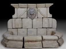 BaroqueStyle Cast Stone Wall Fountain