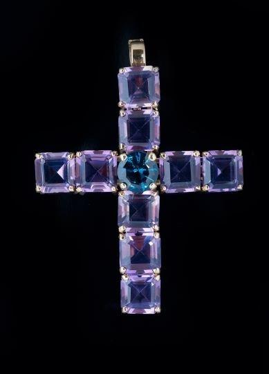 14 Kt. Gold, Amethyst & Blue Topaz Cross Pendant