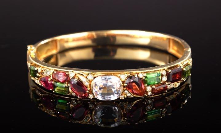 14 Kt. Gold and Multi-Stone Bangle Bracelet