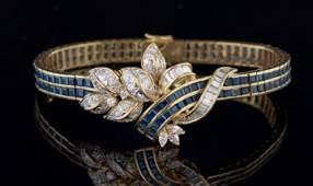 18 Kt Yellow Gold Sapphire and Diamond Bracelet