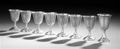 Eight Sterling Silver Wine Goblets