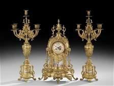 French GiltBronze and Porcelain Clock Garniture