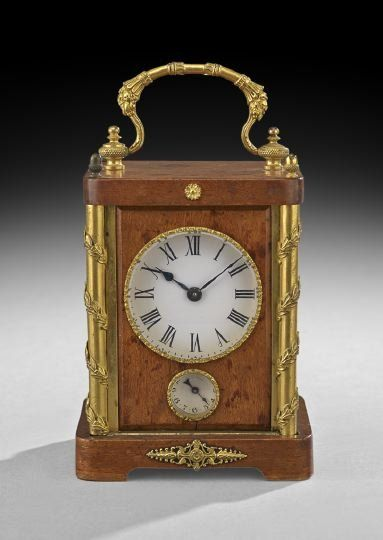 Unusual Fruitwood and Gilt-Bronze Carriage Clock