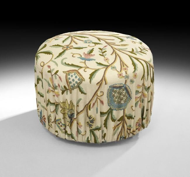 Continental Upholstered Ottoman on Casters