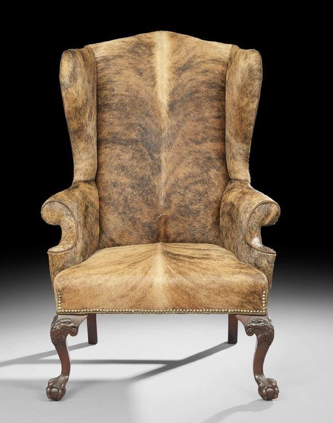 George III-Style Mahogany Wing-Back Armchair