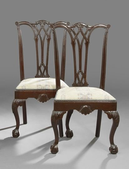 Pair of George III-Style Mahogany Dining Chairs