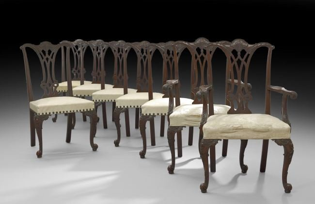 Suite of Eight George III-Style Dining Chairs
